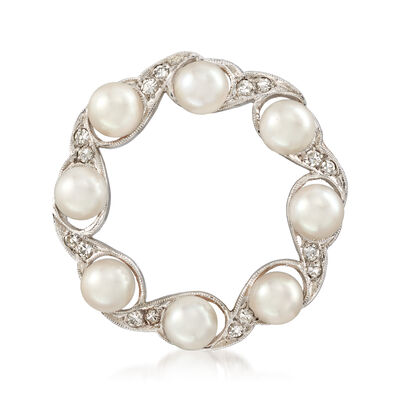 C. 1970 Vintage Cultured Pearl and .20 ct. t.w. Diamond Pin in 14kt White Gold, , default