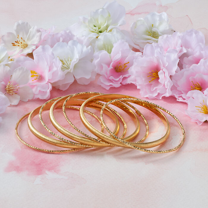 Italian 18kt Gold Over Sterling Silver Jewelry Set: Seven Bangle Bracelets
