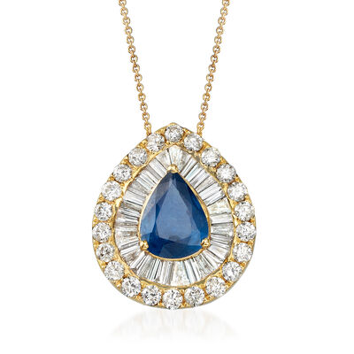 1.30 Carat Sapphire and 1.25 ct. t.w. Diamond Necklace in 18kt Yellow Gold, , default