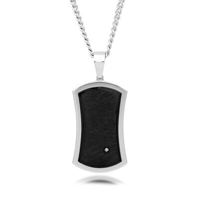 Men's Black and White Stainless Steel Dog Tag Pendant Necklace, , default