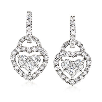 C. 1990 Vintage 2.85 ct. t.w. Diamond Hoop Earrings with Removable Heart Charm Drops in 18kt White Gold
