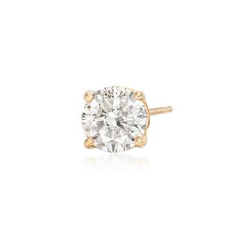 .75 Carat Diamond Single Stud Earring in 14kt Yellow Gold, , default