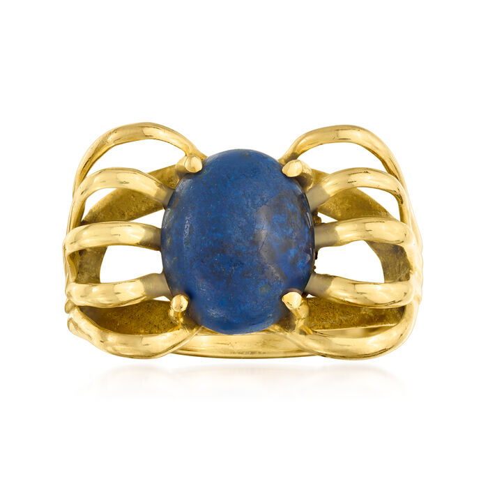 C. 1970 Vintage Lapis Open-Space Ring in 14kt Yellow Gold