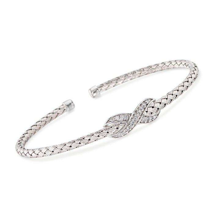 "Charles Garnier ""Infinity"" .15 ct. t.w. CZ Infinity Cuff Bracelet in Sterling Silver. 7"""