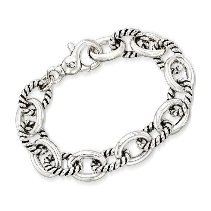 "Zina Sterling Silver Twisted Combination Link Bracelet. 7"""