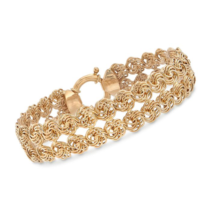14kt Yellow Gold Two-Row Rosette Bracelet, , default