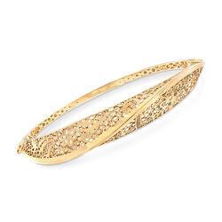 Italian 14kt Yellow Gold Floral Filigree Twisted Bangle Bracelet, , default