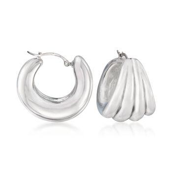 """Sterling Silver Small Ribbed Hoop Earrings. 5/8"""", , default"""