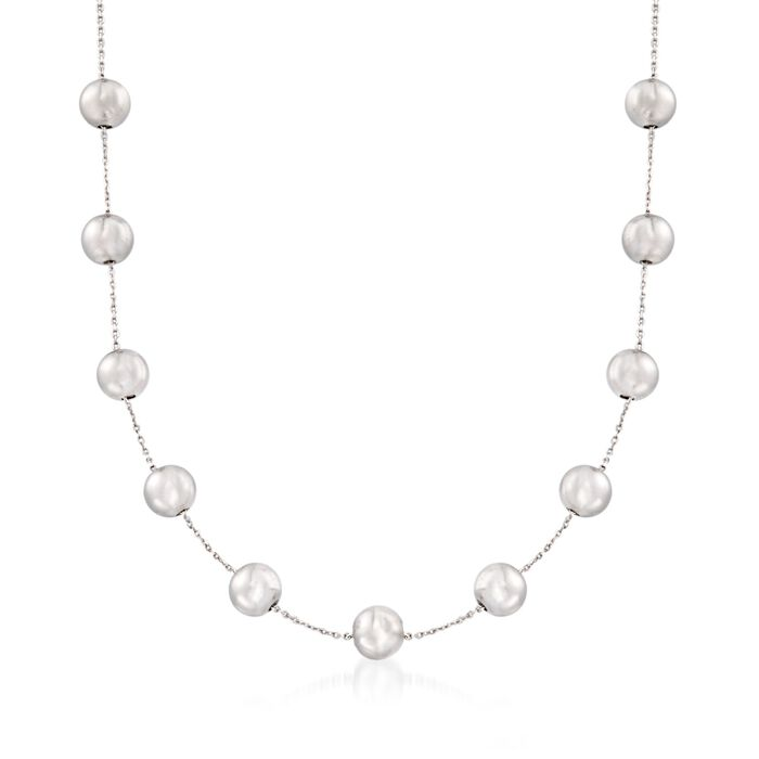 "8mm Sterling Silver Bead Station Necklace. 18"", , default"