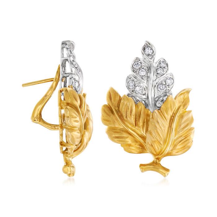 C. 1980 Vintage .80 ct. t.w. Diamond Leaf Earrings in 18kt Two-Tone Gold