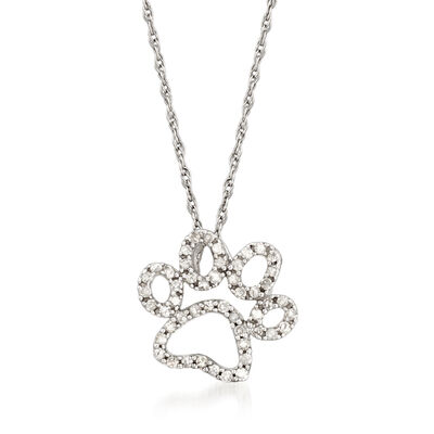 .20 ct. t.w. Diamond Paw Print Pendant Necklace in 14kt White Gold
