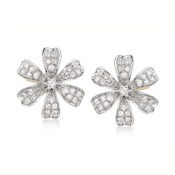 .28 ct. t.w. Diamond Flower Earrings in 14kt Yellow Gold, , default