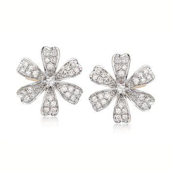.28 ct. t.w. Diamond Flower Earrings in 14kt Yellow Gold, , default