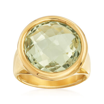 Italian Andiamo 14kt Yellow Gold and 13.00 Carat Prasiolite Ring