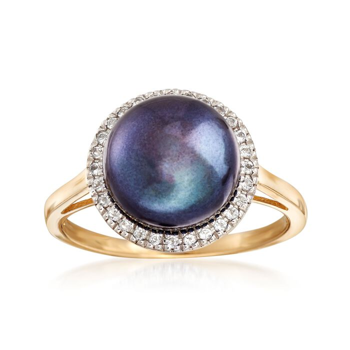 9.5-10mm Black Cultured Button Pearl and .10 ct. t.w. White Topaz Ring in 14kt Yellow Gold
