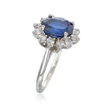 C. 1990 Vintage 2.35 Carat Sapphire and .50 ct. t.w. Diamond Ring in 18kt White Gold. Size 5.75, , default
