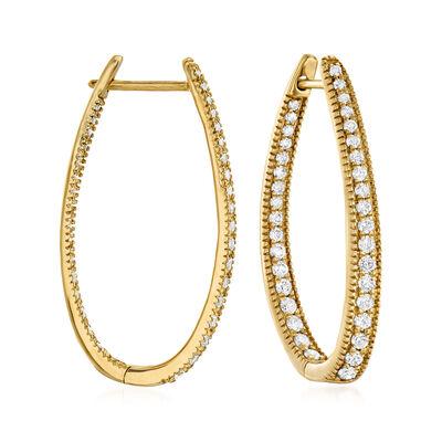 1.50 ct. t.w. Diamond Inside-Outside Oval Hoop Earrings in 14kt Yellow Gold, , default