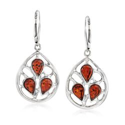 Pear-Shaped Amber Openwork Drop Earrings in Sterling Silver, , default