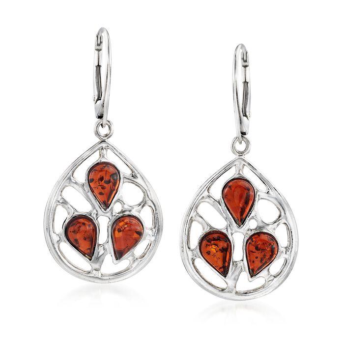 Pear-Shaped Amber Openwork Drop Earrings in Sterling Silver, , default