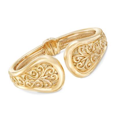 14kt Yellow Gold Filigree Cuff Bangle Bracelet, , default