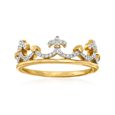 .10 ct. t.w. Diamond Crown Ring in 14kt Yellow Gold