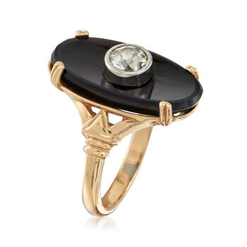 C. 1950 Vintage Oval Black Onyx and .50 Carat Diamond Ring in 14kt Yellow Gold. Size 5.5, , default