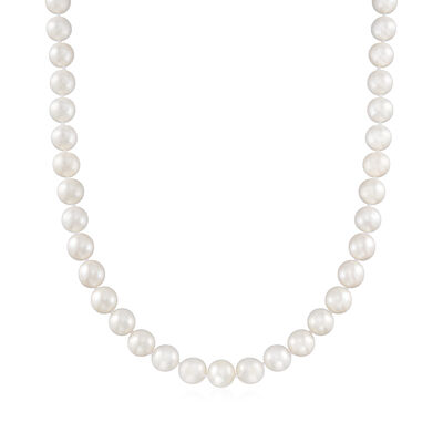 9-10mm Cultured Pearl Necklace with a Sterling Silver Magnetic Clasp