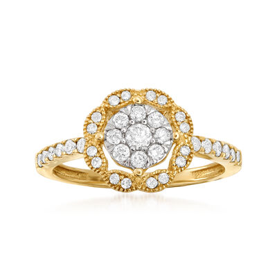 .50 ct. t.w. Diamond Cluster Ring in 14kt Yellow Gold, , default