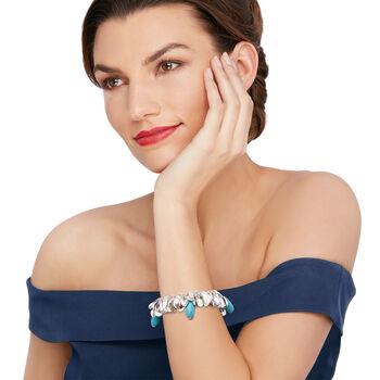 "Turquoise-Blue Glass Bead Leaf Bracelet in Silvertone. 7"", , default"