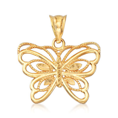 22kt Yellow Gold Butterfly Pendant, , default