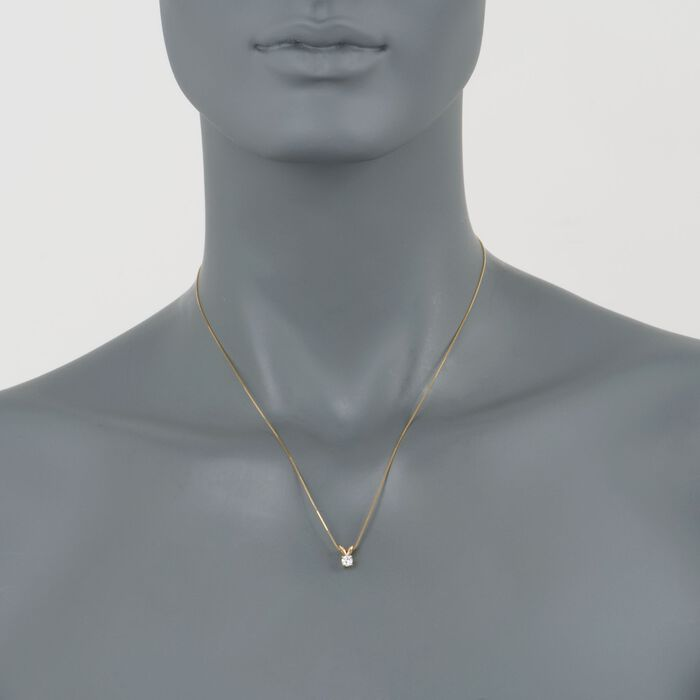 .25 Carat Diamond Solitaire Pendant Necklace in 14kt Yellow Gold. 18""