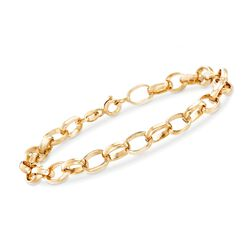 """Italian 6mm 18kt Yellow Gold Cable-Link Chain Bracelet. 7.25"""", , default"""