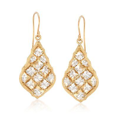 14kt Two-Tone Gold Diamond-Cut Drop Earrings, , default