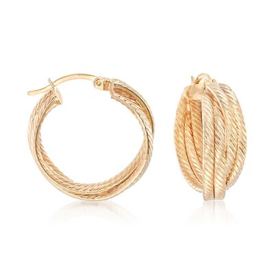 18kt Gold Over Sterling Silver Striped Crisscross Hoop Earrings, , default