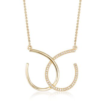 .10 ct. t.w. Diamond Open Interlocking Necklace in 14kt Yellow Gold, , default