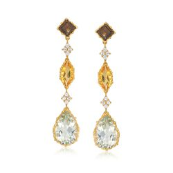 12.20 ct. t.w. Multi-Stone Drop Earrings in 18kt Yellow Gold Over Sterling Silver, , default