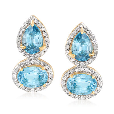 4.40 ct. t.w. Blue and White Zircon Drop Earrings in 18kt Gold Over Sterling , , default