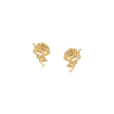 Child's Disney 14kt Yellow Gold Belle's Rose Stud Earrings, , default