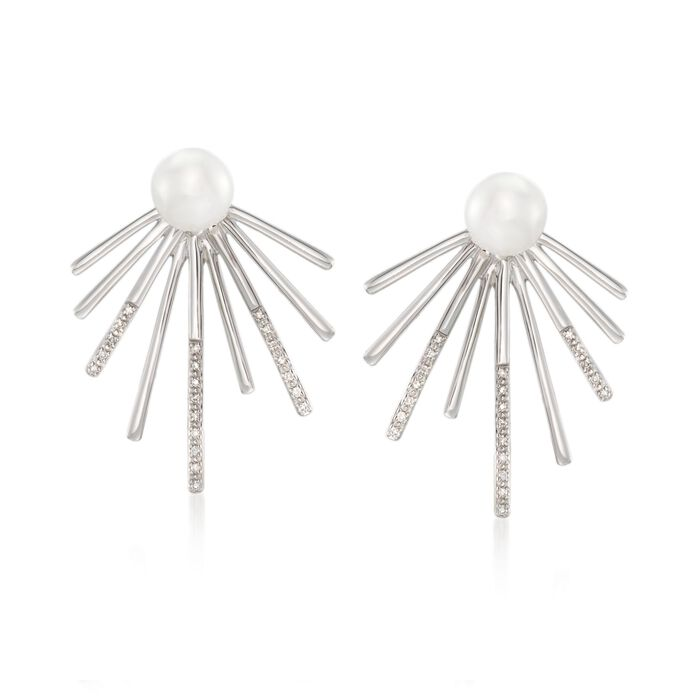 7-7.5mm Cultured Pearl and .10 ct. t.w. Diamond Spike Front-Back Earrings in Sterling Silver , , default