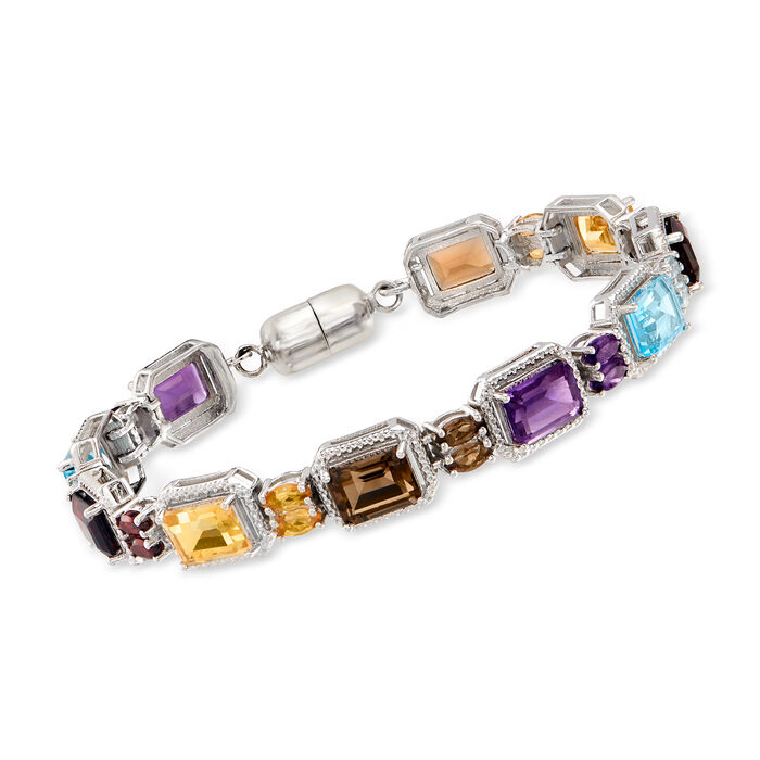 19.40 ct. t.w. Multi-Gemstone Bracelet in Sterling Silver with Magnetic Clasp