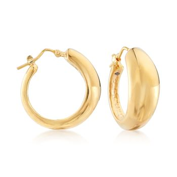 "Italian 14kt Yellow Gold Domed Hoop Earrings. 7/8"", , default"