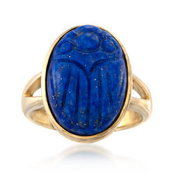 Lapis Scarab Ring in 14kt Yellow Gold Over Sterling, , default