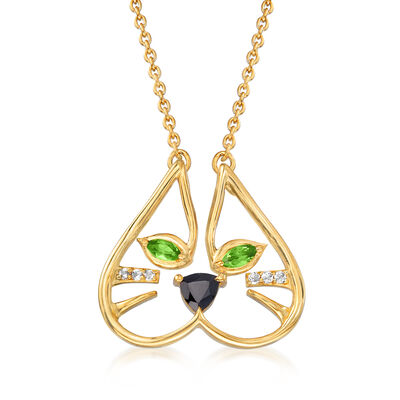.56 ct. t.w. Multi-Gemstone Cat Face Necklace in 18kt Gold Over Sterling