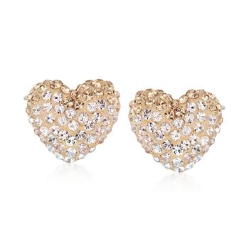 """Swarovski Crystal """"Enjoy Pointillage"""" Golden and Clear Crystal Heart Jewelry Set: Earrings and Necklace in Gold Plate. 14.75"""", , default"""
