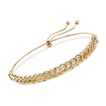 18kt Yellow Gold Modified Wheat-Link Bolo Bracelet, , default