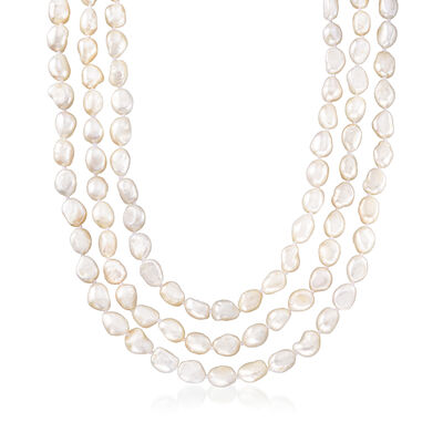8-9mm Cultured Semi-Baroque Pearl Endless Necklace with Free Sterling Silver Necklace Shortener, , default