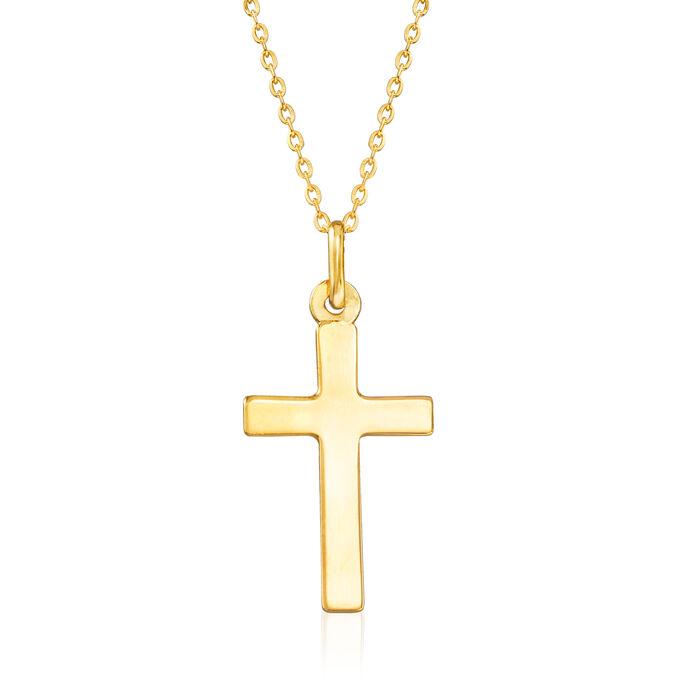 "Italian 18kt Yellow Gold Cross Pendant Necklace. 18"""