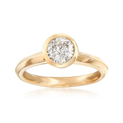 1.00 Carat Bezel-Set Diamond Solitaire Ring in 14kt Yellow Gold, , default