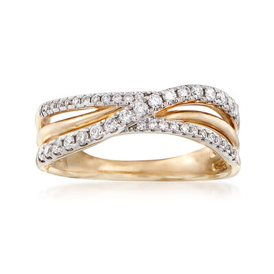 .31 ct. t.w. Diamond Crisscross Ring in 14kt Yellow Gold, , default