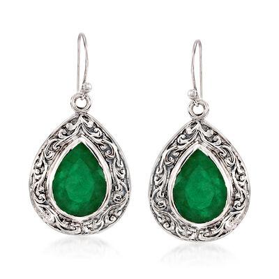 11.00 ct. t.w. Emerald Scroll Drop Earrings in Sterling Silver, , default